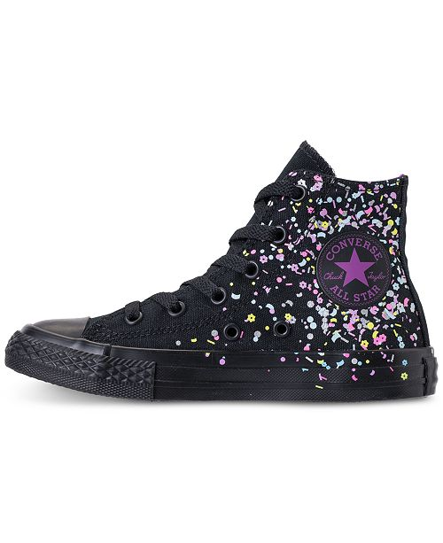 a07f15b12434 ... Converse Girls  Chuck Taylor All Star High Top Confetti Casual Sneakers  from Finish ...