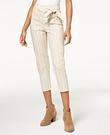 Be Bop Juniors' Striped Tie-Waist Cropped Pants