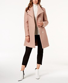 Kenneth Cole Asymmetrical Bouclé Walker Coat