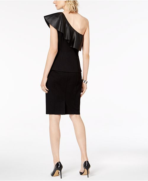 Macy's INC Leather Created Black Curvy Knit Faux Deep N C Skirt International for Ponté Fit Concepts I Pencil BwrB8