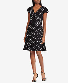 Lauren Ralph Lauren Petite Polka-Dot-Print Ruched Dress