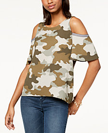 Gypsies & Moondust Juniors' Printed Cold-Shoulder Top