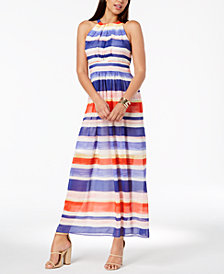 Vince Camuto Striped Chiffon Halter Maxi Dress