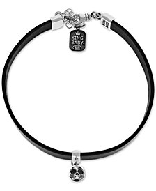 "King Baby Women's Hamlet Skull Choker Necklace in Sterling Silver, 12+ 2"" extender"