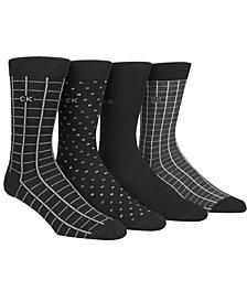 Calvin Klein Men's 4-Pk. Printed Crew Socks