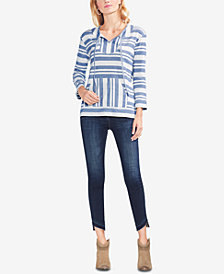 Vince Camuto Striped Split-Neck Top