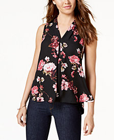 Vince Camuto Printed Pleat-Detail Top