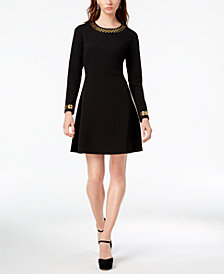 MICHAEL Michael Kors Studded Fit & Flare Dress