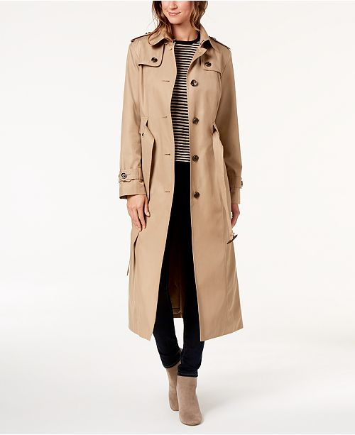 Coat London Belted Fog Khaki Maxi Hooded Trench British wXvXxErqnC
