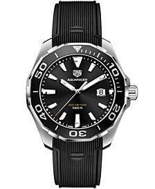 Men's Swiss Aquaracer Black Rubber Strap Watch 43mm