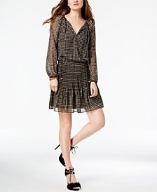 MICHAEL Michael Kors Printed Split-Neck A-Line Dress