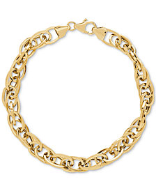 Interlocking Oval Link Chain Bracelet in 14k Gold