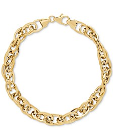 Interlocking Oval Link Chain Bracelet in 14k Gold