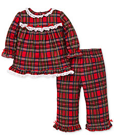 Little Me Baby Girls 2-Pc. Plaid & Lace Pajama Set