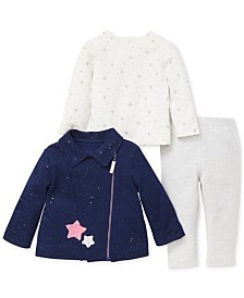 Little Me Baby Girls 3-Pc. Star-Print Top, Jacket & Leggings Set