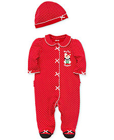 Little Me Baby Girls Cotton Dot-Print Footed Coverall with Hat
