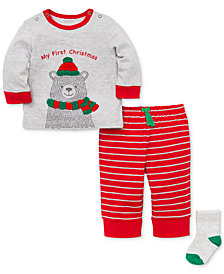 Little Me Baby Boys 3-Pc. Bear-Print T-Shirt, Striped Pants & Socks Set