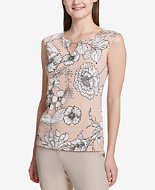 Calvin Klein Printed Toggle-Neck Shell