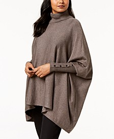 Petite Turtleneck Poncho Sweater, Created for Macy's