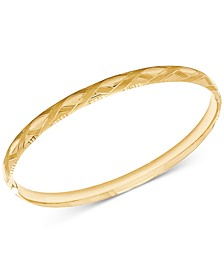 Patterned Bangle Bracelet in 14k Gold