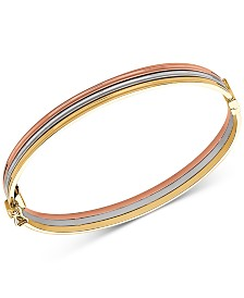 Tricolor Stacked Bangle Bracelet in 14k Gold, White Gold & Rose Gold