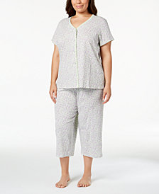 Charter Club Plus Size Cotton Picot-Trim Pajama Set, Created for Macy's
