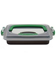 "Perfect Slice Covered 9""x13"" Cake Pan with Cutting Tool"