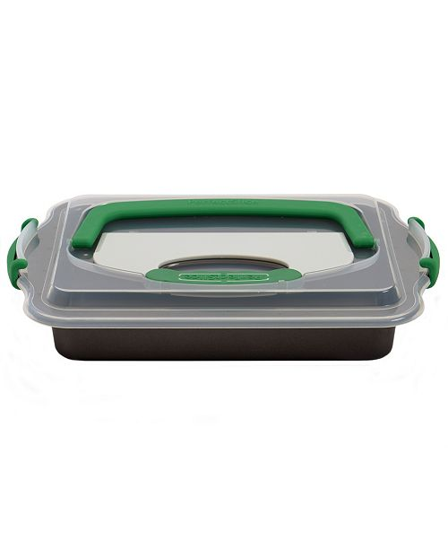 """BergHoff Perfect Slice Covered 9""""x13"""" Cake Pan with Cutting Tool"""