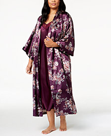 Thalia Sodi Plus Size Floral-Print Charmeuse Robe, Created for Macy's