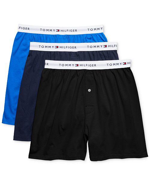 d959384e1853 Tommy Hilfiger Men's 3-Pk. Classic Knit Cotton Boxers - Underwear ...