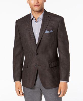 Men's Classic-Fit UltraFlex Stretch Light Brown/Blue Multi-Check Wool Sport Coat