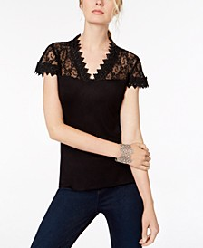 INC Petite Lace-Yoke Top, Created for Macy's