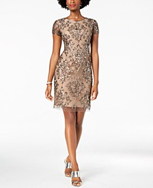 Damask Sequined Mesh Dress