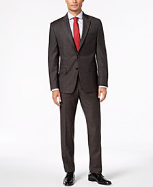 Lauren Ralph Lauren Men's Classic-Fit UltraFlex Stretch Brown Windowpane Suit