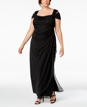 Old Hollywood Glamour Dresses Alex Evenings Plus Size Draped Cold-Shoulder Dress $149.00 AT vintagedancer.com