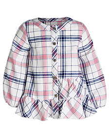 First Impressions Baby Girls Flannel Plaid Cotton Dress, Created for Macy's