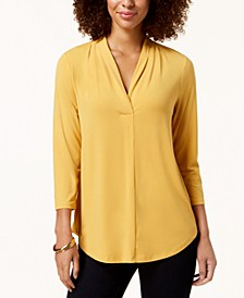 Petite Pleat-Neck 3/4-Sleeve Top, Created for Macy's