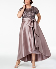 R & M Richards Plus Size High-Low Gown