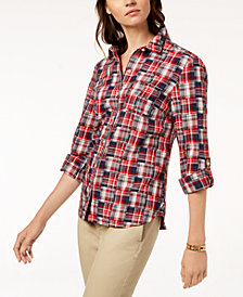 e8dea5f0 Tommy Hilfiger Cotton Printed Roll-Tab Utility Shirt, Created for Macy's