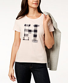 Tommy Hilfiger Plaid Logo T-Shirt, Created for Macy's