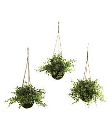 Nearly Natural 3-Pc. Eucalyptus, Maidenhair & Berry Artificial Plant Hanging Basket Set
