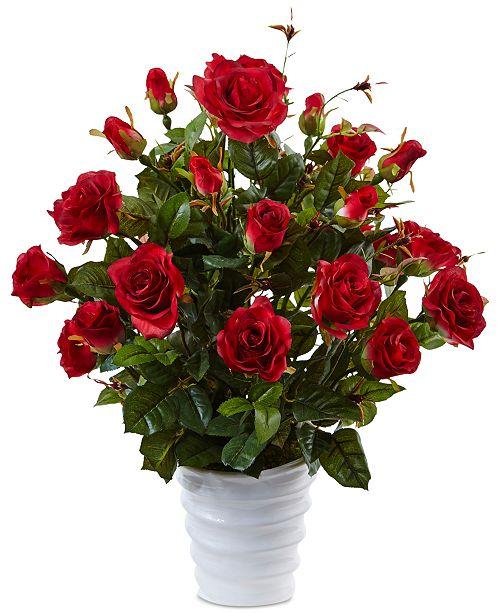 Nearly Natural Rose Bush Artificial Arrangement in Swirl Planter