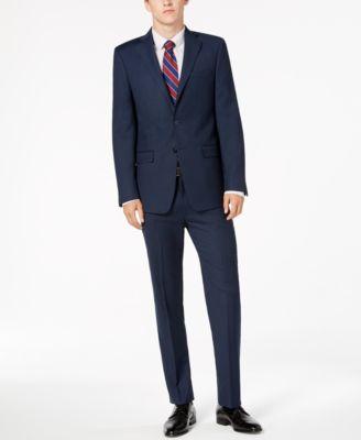 Men's Slim-Fit Stretch Blue/Charcoal Birdseye Suit Pants
