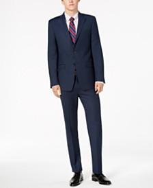 Calvin Klein Men's Slim-Fit Stretch Blue/Charcoal Birdseye Suit Separates