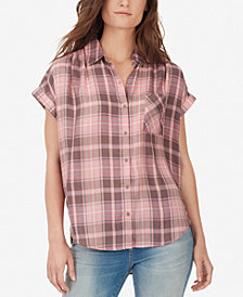 WILLIAM RAST Athena Plaid High-Low Shirt