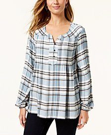 Style & Co Plaid Peasant Top, Created for Macy's
