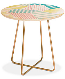 Deny Designs Susanne Kasielke French Reviera Seaside Stripes Round Side Table