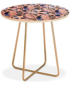 Ninola Design Pink pastel spring daisy and poppy flowers Round Side Table