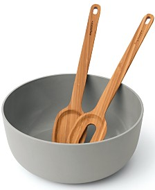 BergHOFF Leo Collection 3-Pc. Salad Bowl Set with Bamboo Servers