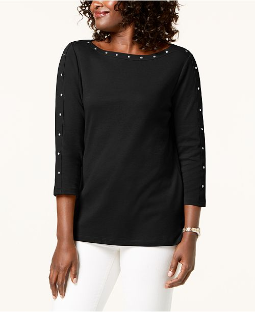 Karen Scott Cotton Boat-Neck Studded Top, Created for Macy's